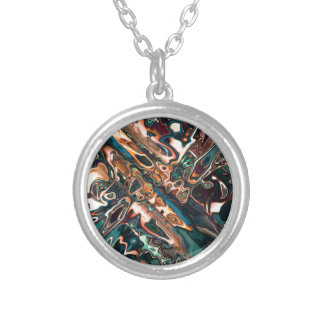 Melting Copper Abstract Silver Plated Necklace
