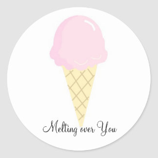 Melting over You - Ice Cream Classic Round Sticker