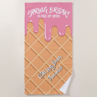 Melting Strawberry Ice Cream Beach Towel