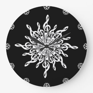 MELTPOINT WINTER Black White G-Clef Snowflake Large Clock
