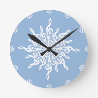 MELTPOINT WINTER Blue White Treble Clef Snowflake Round Clock