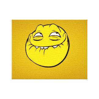 Meme Face Smiley Emoticon Yelow Funny Head Troll Canvas Print