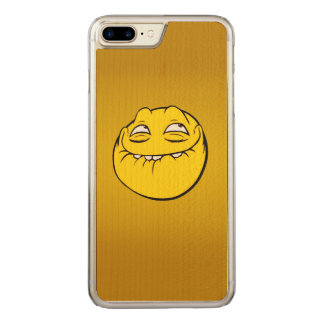 Meme Face Smiley Emoticon Yelow Funny Head Troll Carved iPhone 8 Plus/7 Plus Case