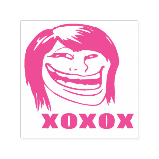 Memes Le Me XOXO Woman Troll Pink Funny Stamp