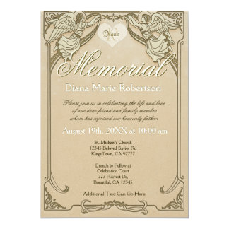 Memorial | Angel Monogram 5x7 Paper Invitation Card