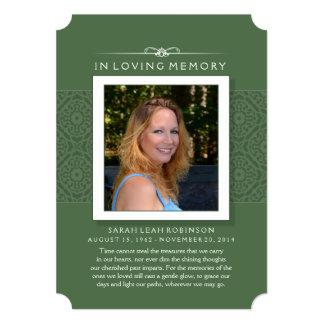 Memorial Card - Elegant Green - Poem of Life