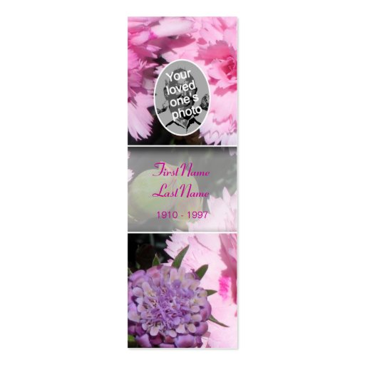 Memorial Card Floral Photo Pink Carnation Bookmark Business Card Templates