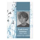 memorial cards : silhouscreen birds personalised invitation