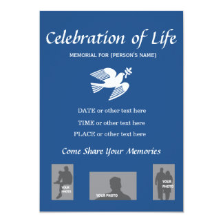 Memorial Celebration of Life Peace Dove invitation