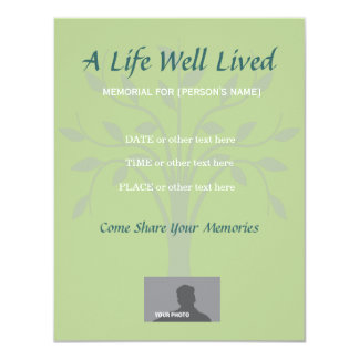 "Memorial Celebration of Life Sage Green 4.25"" X 5.5"" Invitation Card"