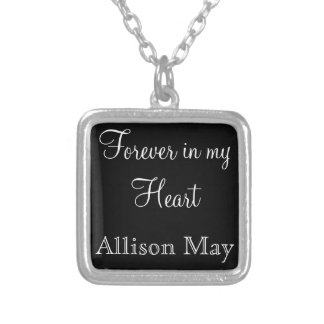 Memorial Charm for Wedding Bouquet in Black Personalized Necklace