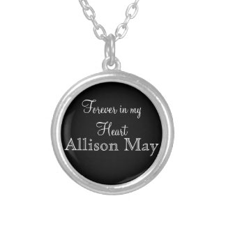 Memorial Charm for Wedding Bouquet in Black Round Pendant Necklace