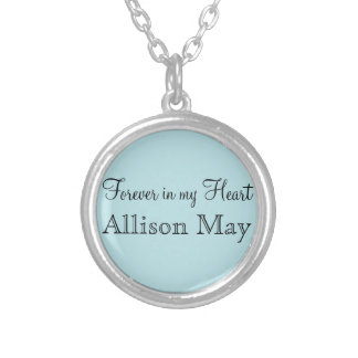 Memorial Charm for Wedding Bouquet in Blue Round Pendant Necklace