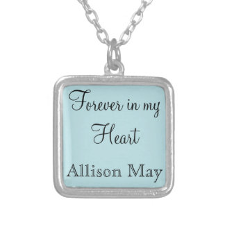 Memorial Charm for Wedding Bouquet in Blue Square Pendant Necklace
