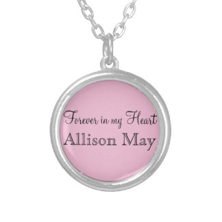 Memorial Charm for Wedding Bouquet in Pink Round Pendant Necklace