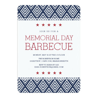Memorial Day Barbecue Party 13 Cm X 18 Cm Invitation Card
