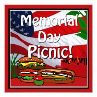 Memorial Day BBQ Grill Picnic Hamburger Hotdog Personalized Invite