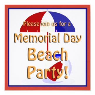 """Memorial Day Beach Party Invite 5.25"""" Square Invitation Card"""