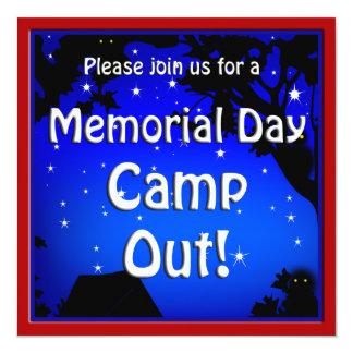 """Memorial Day Camp Out Invite 5.25"""" Square Invitation Card"""