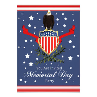 Memorial Day Card Party Invitation - Eagle And Ban