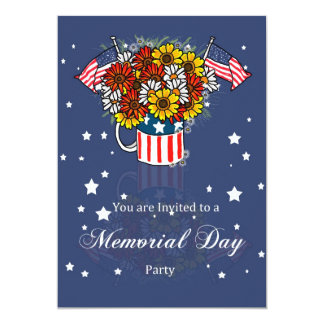 """Memorial Day Card Party Invitation With Flowers In 5"""" X 7"""" Invitation Card"""