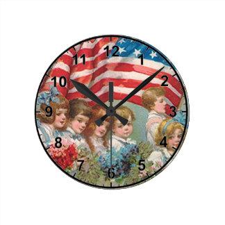 Memorial Day Children Round Clock