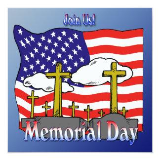 """Memorial Day - Flag Gravestone Invitation 5.25"""" Square Invitation Card"""