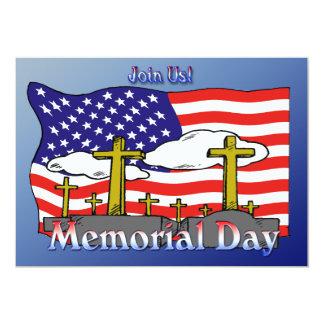 """Memorial Day - Flag Gravestone Invitation 5"""" X 7"""" Invitation Card"""