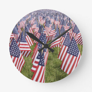 Memorial Day Flags Round Clock