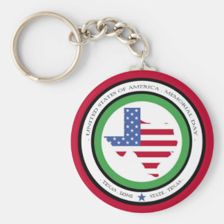 memorial day lone star state texas usa basic round button key ring