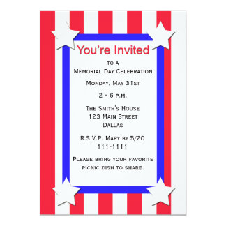 Memorial Day Party Stars and Stripes Invitation