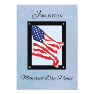 Memorial Day Picnic Invitation, Flag, Blue Skies 13 Cm X 18 Cm Invitation Card
