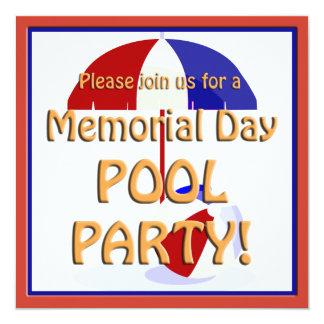 """Memorial Day Pool Party Invite 5.25"""" Square Invitation Card"""