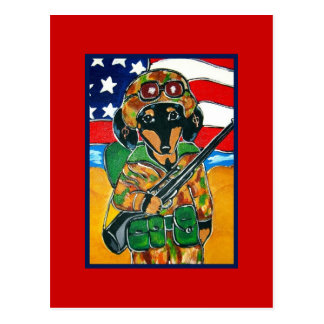 Memorial Day - Soldier Doxie Postcard