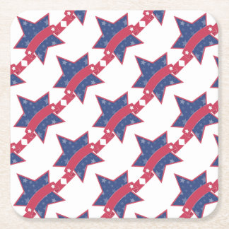 Memorial day - star square paper coaster