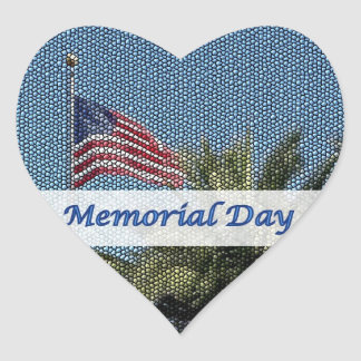 Memorial Day USA Flag Palm Tree Heart Sticker