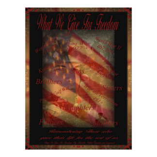 Memorial Day What we give for Freedom Poster