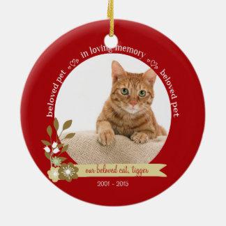 Memorial for pet at Christmas custom photo name Ceramic Ornament