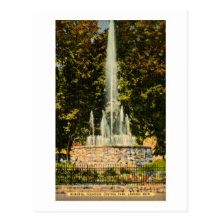Memorial Fountain, Central Park, Lansing, Michigan Postcard
