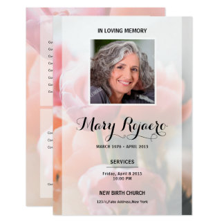 Memorial Funeral Card With Floral Background 9 Cm X 13 Cm Invitation Card