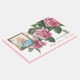 Memorial Funeral Guest Book Antique Tea Rose