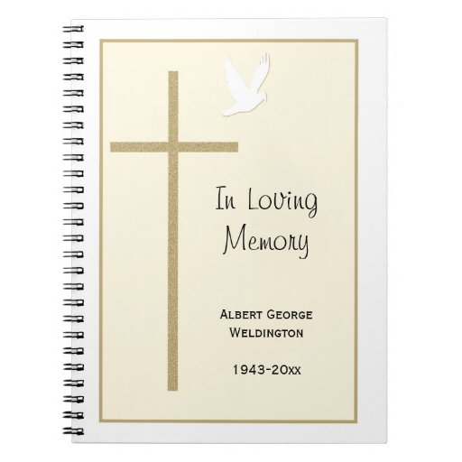 Guest Book Cover Printable : Memorial funeral guest book notebook cross dove zazzle