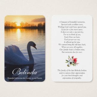 Memorial Funeral Prayer Card | Sunset Swan