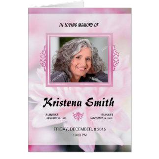 Memorial Funeral Program Template Note Card