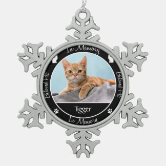Memorial - Loss of Cat - Custom Photo/Name Pewter Snowflake Decoration