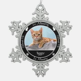 Memorial - Loss of Cat - Custom Photo/Name Snowflake Pewter Christmas Ornament