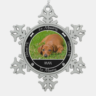 Memorial - Loss of Dog- Custom Photo/Name Pewter Snowflake Decoration