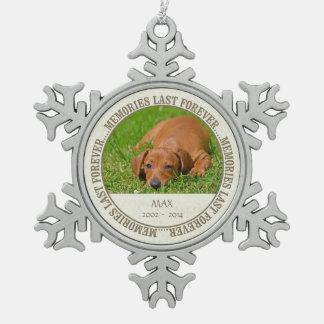 Memorial - Loss of Pet - Custom Photo/Name Snowflake Pewter Christmas Ornament