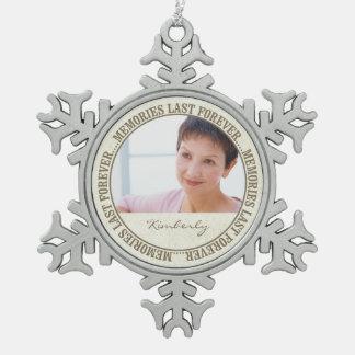 Memorial - Memories Last Forever Custom Photo/Name Snowflake Pewter Christmas Ornament
