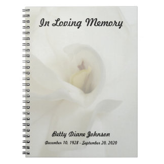 Memorial or Funeral Guest Book Notebook - Gardenia